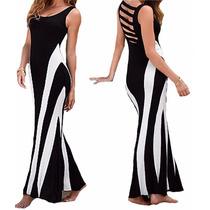 Vestido Longo Duas Cores Acinturado Decote Tira Costas Vl203