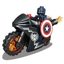 Capitão América + Moto Minifigures Marvel Lego Comptível K32