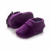 Zapatos Mocasines Bebé, De Ante Color Uva Unisex