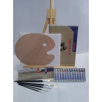 Atril Y Set De Oleo Bastidor Pinceles Paleta Block Artmate
