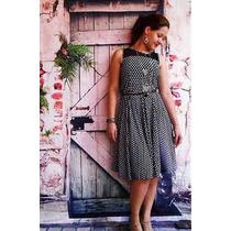 Vestido Feminino Vintage Saia Rodada Rodado Bolinhas Poa
