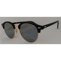 Lentes Ray Ban Clubround Rb 4246 901/30 Black Silver Mirror