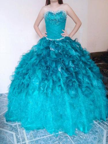 Vestido Xv Años Verde Jade Talla 5 Incluye Tutu