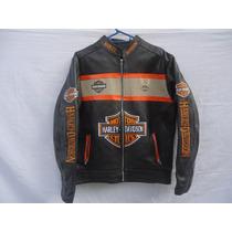 Chamarra De Piel Bordada Harley Davidson