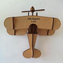 10 Avião Biplano Madeira Mdf Puzzle 3d Com Nome