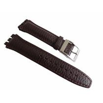 Pulseira Swatch Marrom Luxo Irony Couro Tipo Croco 19mm