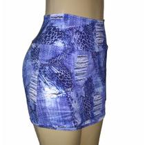 Short Saia Jeans Fake Poliamida Bolso Fitness Academia Top