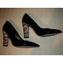 Zapatos Gacel De Cuero Charol N º 37.negros Taco Cebra.