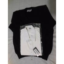 Pullover Escote En V Camisa Escolares Talle Medium O 40