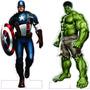 2 Display Chão Os Vingadores C/ 1 Metro Cap America E Hulk