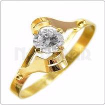 Anillo Oro Hojita Amarillo 18 Kts Con Cubic - An24 Newmar