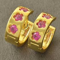 Aros Argolla Rosa Y Dorado Bañados En Oro