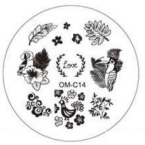 Placa Para Decoración De Uñas Con Sello Om-c14