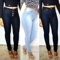 Calça Jeans Feminina Cintura Alta Hot Pants Lycra Cos Alto