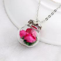 Cadena Y Esfera De Cristal Con Flores De Tela