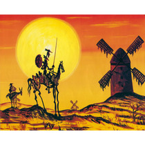 Lienzo Tela Don Quijote Y Sancho, E. M. Simón 72x90 Cm