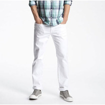 Calça Masculina Jeans Sarja Slim Branca 36 A 46 Otimo Tecido