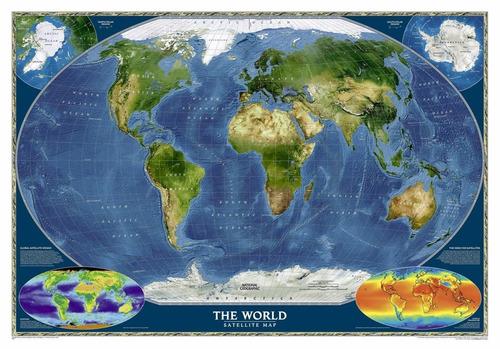 Mapa Mundi Satlite Hd Decorar Parede Sala Relevo Terrestre  R