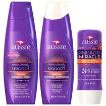 Kit Aussie Smooth:shampoo + Condicionador+3 Minutes Miracle