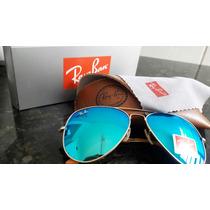 Óculos Ray Ban Aviador Completo Lentes Azuis Promoção