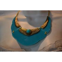 Maxi Colar Em Resina Azul-moda,inverno-outono Verão 2017