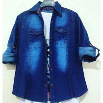 Camisas Jeans Mujer Nevada, Azul, Elastizada, Talles 1 Al 5