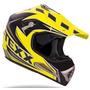 Capacete Cross Texx Speed Mud Preto Com Amarelo Trilha