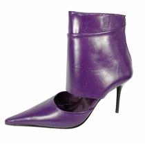 Stilettos Zapatillas Moradas De Piel Tipo Botín Vía Libera