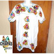 Blusón O Mini Vestido Blanco De Chiapas Bordado A Mano. M /l