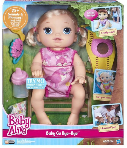 Boneca Baby Alive Hora Do Passeio Engatinha Loira Hasbro
