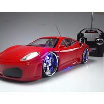 Carrinho Controle Remoto Ferrari Leds Nas Rodas Farol E Neon