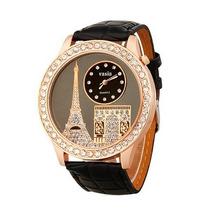 Oportunidad Reloj Mujer Torre Eiffel Con Diamantes