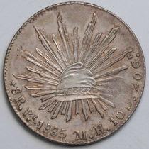 Aaaa 1885 8 Reales Pi Rara Moneda Mexicana Peso Au Plata Cf7