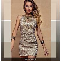 Vestido De Curto Festa Bordado Tule Vanessa Lima! Bronze!
