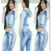 Conjunto Calca Moleton + Jaqueta Jeans Com Moleton 36 A 46