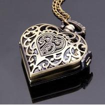 Relógio De Bolso / Colar Quartzo Em Forma De Coração Bronze