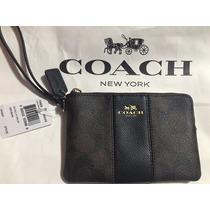 Bolsa/cartera Coach Wristlet, Nueva, Con Vivos Color Negro