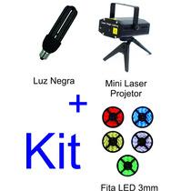 Mini Laser Projetor + Luz Negra 28w + Fita Led 3mm 12v
