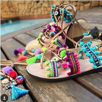 Sandália Gladiadora Rasteirinha Hippie Boho Étnica
