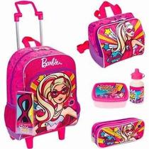 Kit Mochila Barbie Super Princesa Rodinhas Rosa Sestini 2016
