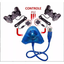 Controle100% Original Ps2 Sony+adaptador Usb Jogar Pc Ps3