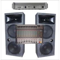 Combo Sonido Para Bandas Columnas Ampli 400 Y Mixer X12