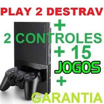 Preço Play 2 + Barato+2 Controles+15 Jogos+memory+garantia