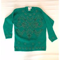 Pullover Verde Esmeralda Con Bordados De Pierdra - Envios