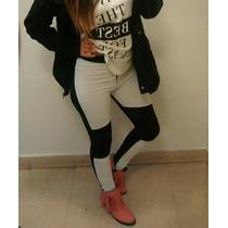 Pantalon Elastizado Combinado Negro Y Blanco Tiro Alto