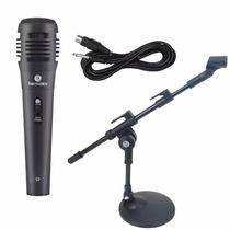 Microfone Com Fio + Mini Pedestal Suporte De Mesa + Cabo P10