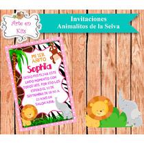Tarjetas Invitaciones Animalitos Selva Rosa X10u De 10x15 Cm