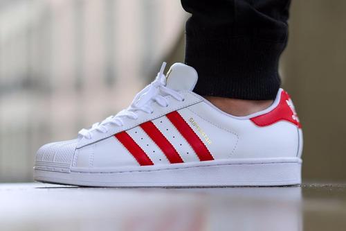 adidas superstar blancas y rojas