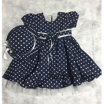 Vestido Infantil Azul Com Bolinhas Brancas + Chapéu