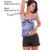 Malla Tankini Short Talles Especiales 130 A 150 Cm De Busto